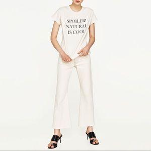 "Zara W&B T Shirt "" Spoiler! Natural is Cool"""